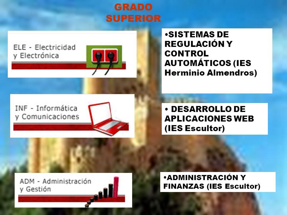 ADMINISTRACIÓN Y FINANZAS (IES Escultor) GRADO SUPERIOR SISTEMAS DE REGULACIÓN Y CONTROL AUTOMÁTICOS (IES Herminio Almendros) DESARROLLO DE APLICACION