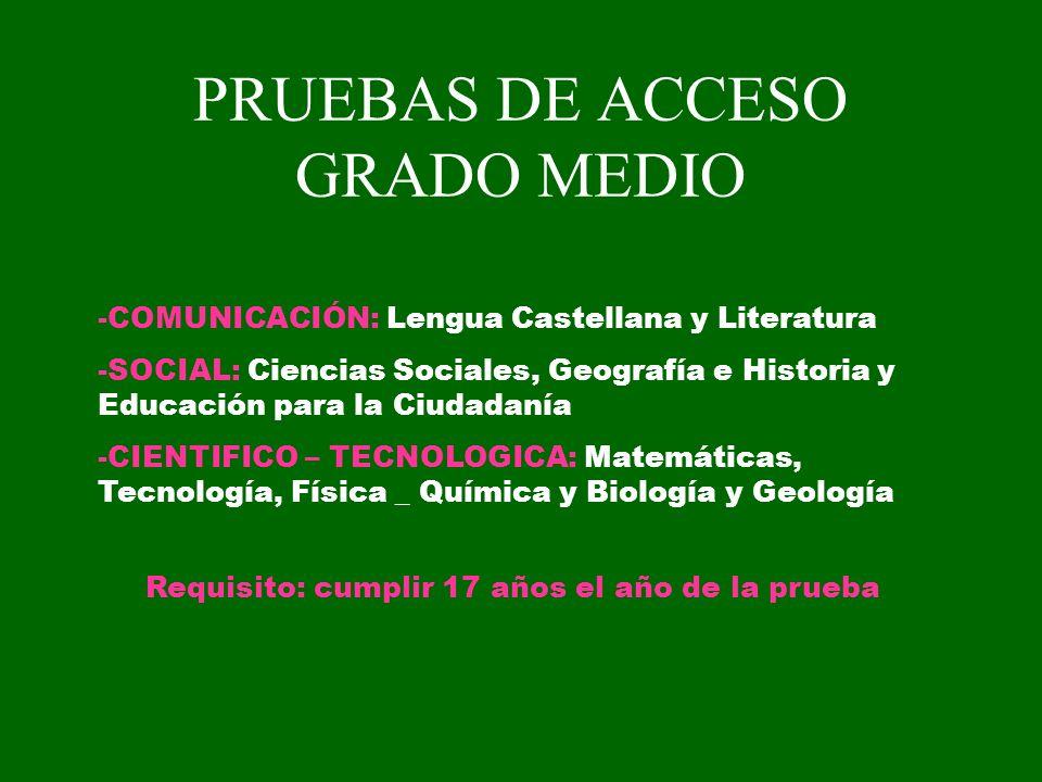 PRUEBAS DE ACCESO GRADO MEDIO -COMUNICACIÓN: Lengua Castellana y Literatura -SOCIAL: Ciencias Sociales, Geografía e Historia y Educación para la Ciuda