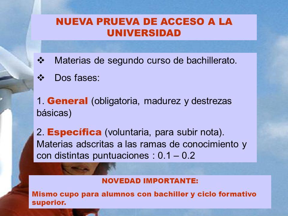 NUEVA PRUEVA DE ACCESO A LA UNIVERSIDAD Materias de segundo curso de bachillerato. Dos fases: 1. General (obligatoria, madurez y destrezas básicas) 2.
