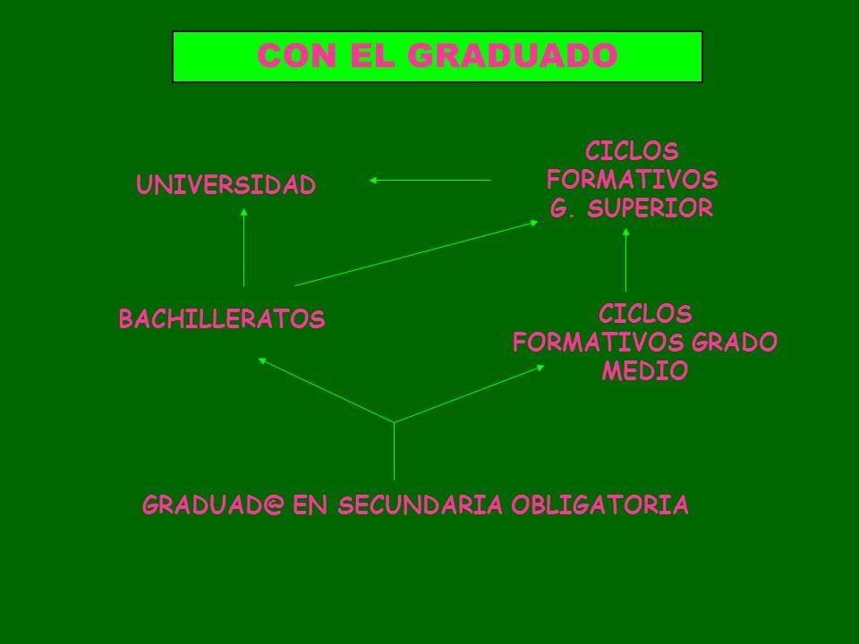 GRADUAD@ EN SECUNDARIA OBLIGATORIA BACHILLERATOS CICLOS FORMATIVOS GRADO MEDIO CICLOS FORMATIVOS G. SUPERIOR UNIVERSIDAD CON EL GRADUADO