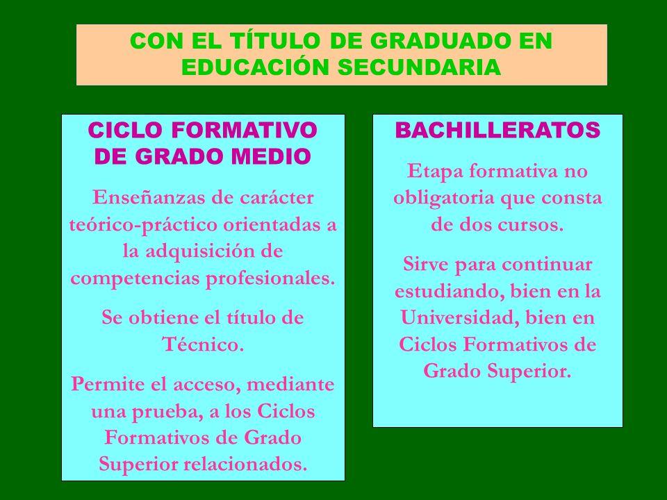 CON EL TÍTULO DE GRADUADO EN EDUCACIÓN SECUNDARIA CICLO FORMATIVO DE GRADO MEDIO Enseñanzas de carácter teórico-práctico orientadas a la adquisición d