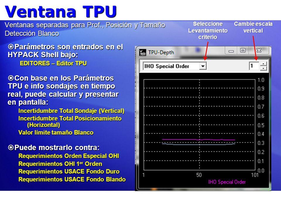 Ventana TPU Ventanas separadas para Prof., Posición y Tamaño Detección Blanco Parámetros son entrados en el HYPACK Shell bajo: Parámetros son entrados