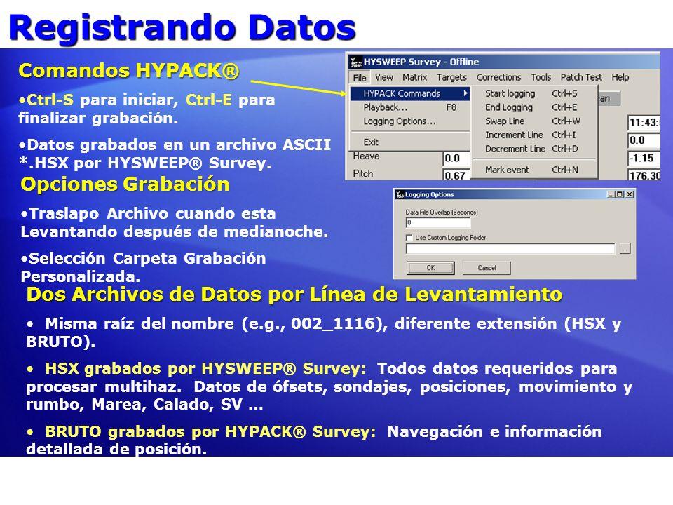 Registrando Datos Comandos HYPACK® Ctrl-S para iniciar, Ctrl-E para finalizar grabación. Datos grabados en un archivo ASCII *.HSX por HYSWEEP® Survey.