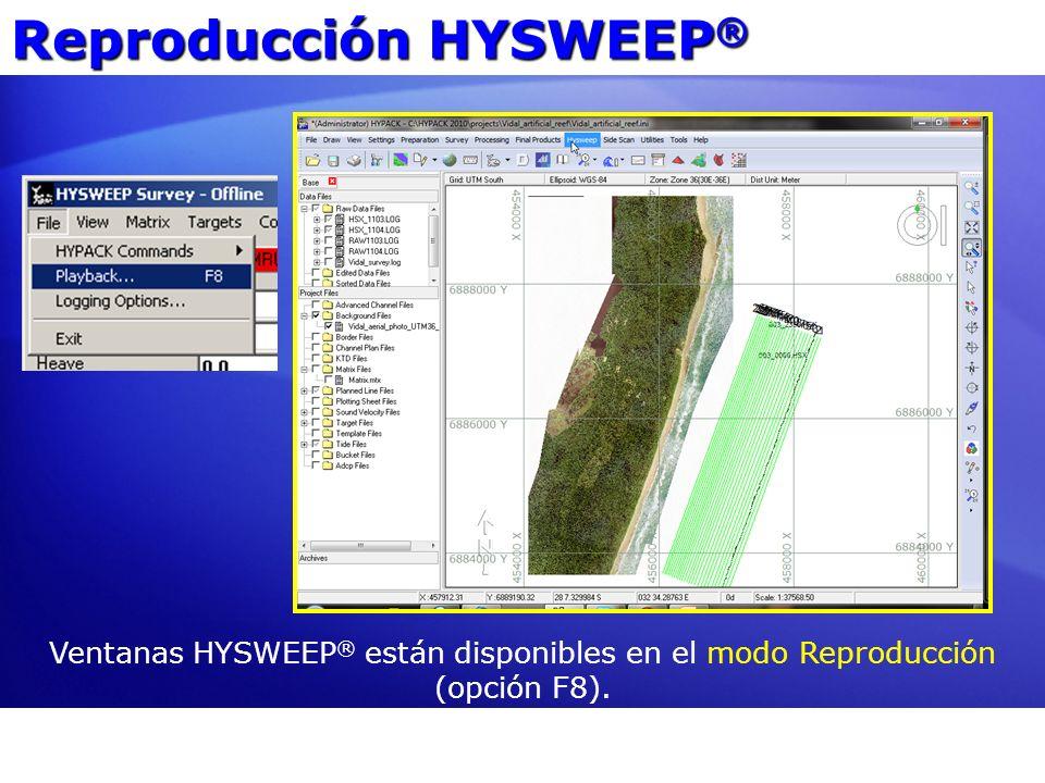 Ventanas HYSWEEP ® están disponibles en el modo Reproducción (opción F8). Reproducción HYSWEEP ®