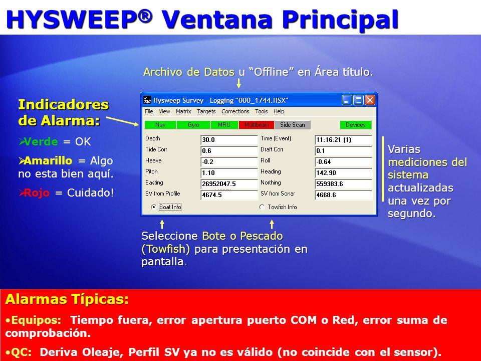 HYSWEEP ® Ventana Principal Indicadores de Alarma: Verde = OK Amarillo = Algo no esta bien aquí. Rojo = Cuidado! Varias mediciones del sistema actuali