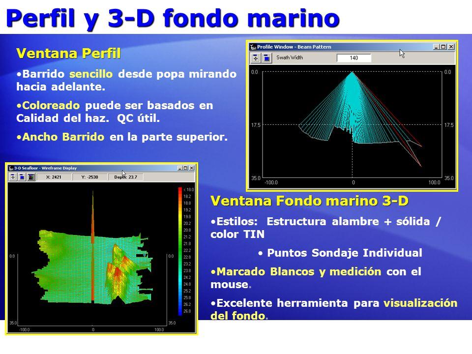 Perfil y 3-D fondo marino Ventana Perfil Barrido sencillo desde popa mirando hacia adelante. Coloreado puede ser basados en Calidad del haz. QC útil.