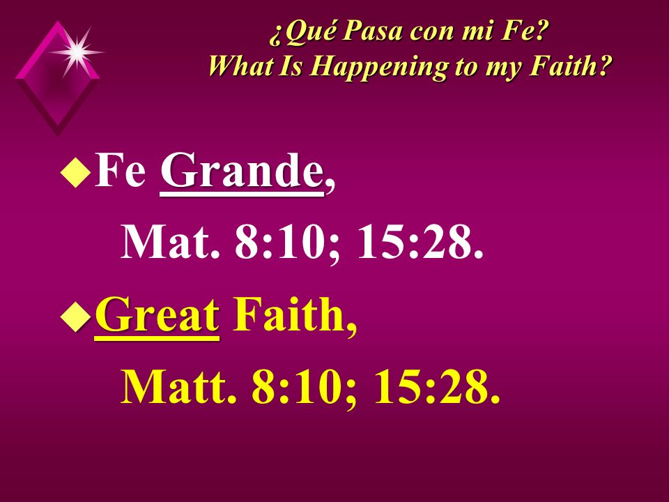 ¿Qué Pasa con mi Fe.What Is Happening to my Faith.