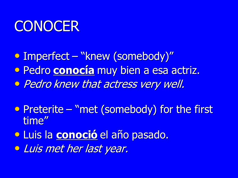 CONOCER Imperfect – knew (somebody) Imperfect – knew (somebody) Pedro conocía muy bien a esa actriz. Pedro conocía muy bien a esa actriz. Pedro knew t