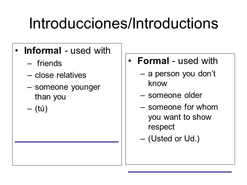 Introducciones/Introductions Informal - used with – friends –close relatives –someone younger than you –(tú) _______________ Formal - used with –a person you dont know –someone older –someone for whom you want to show respect –(Usted or Ud.) _______________