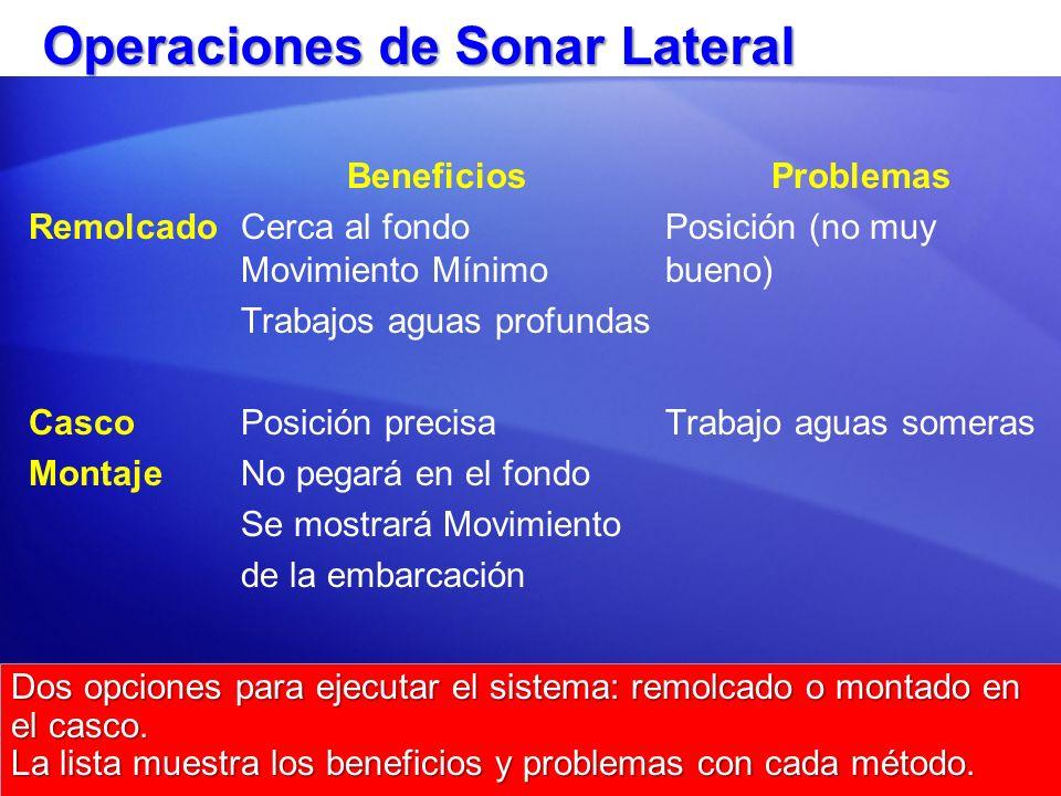 Operaciones de Sonar Lateral BeneficiosProblemas RemolcadoCerca al fondoPosición (no muy Movimiento Mínimobueno) Trabajos aguas profundas Casco Posici