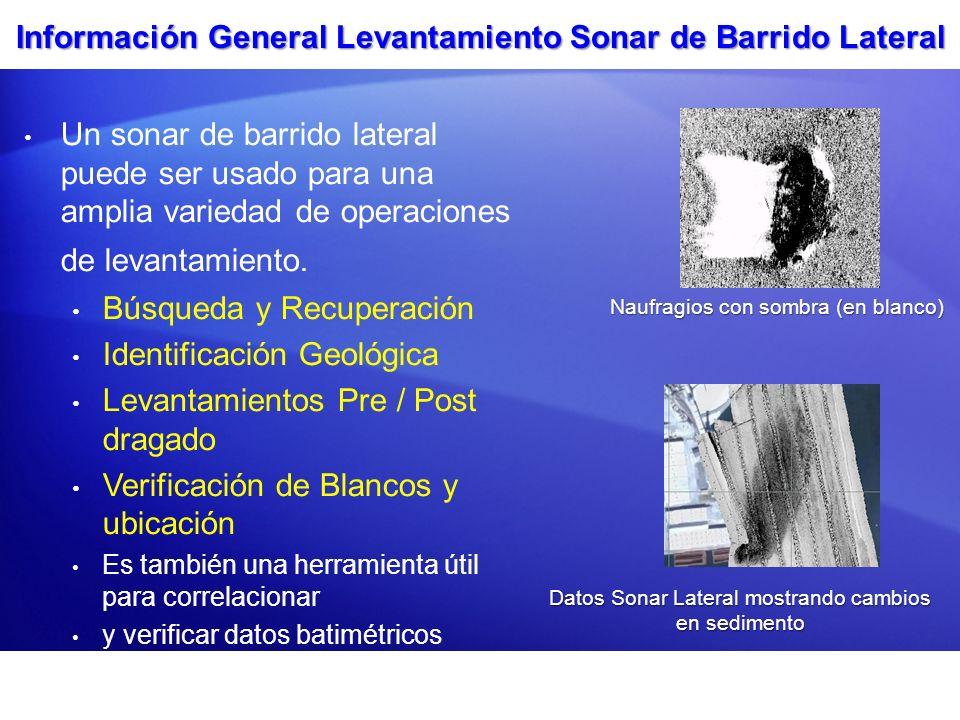 Información General Levantamiento Sonar de Barrido Lateral Un sonar de barrido lateral puede ser usado para una amplia variedad de operaciones de leva