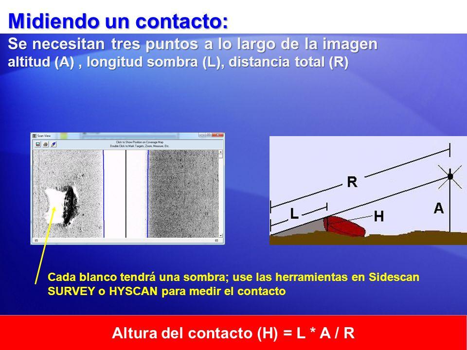 Midiendo un contacto: Se necesitan tres puntos a lo largo de la imagen altitud (A), longitud sombra (L), distancia total (R) Altura del contacto (H) =