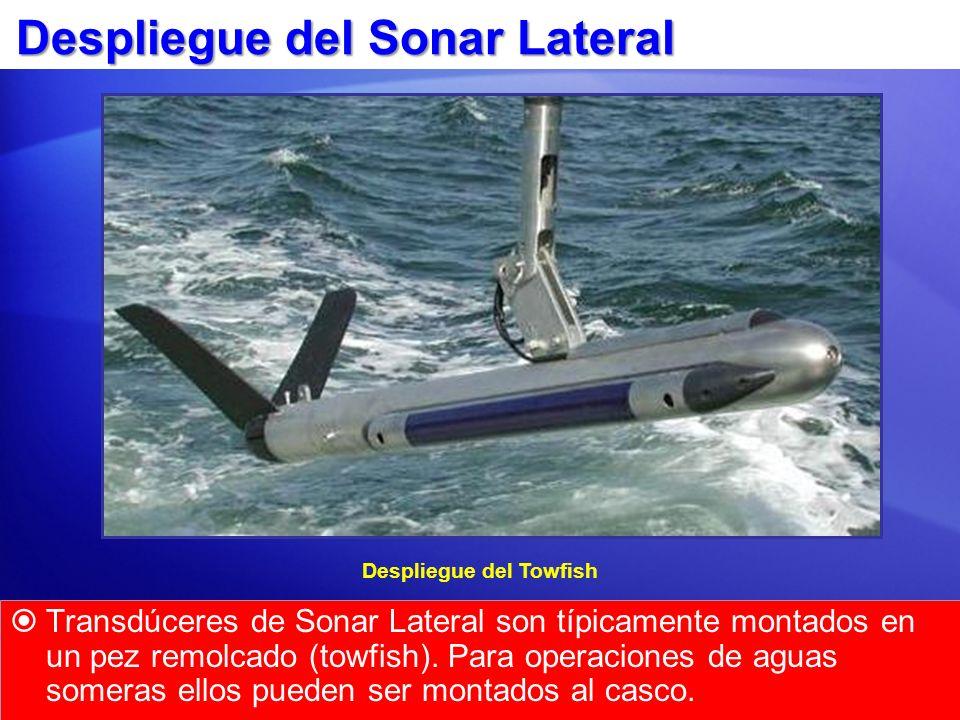 Despliegue del Sonar Lateral Transdúceres de Sonar Lateral son típicamente montados en un pez remolcado (towfish). Para operaciones de aguas someras e