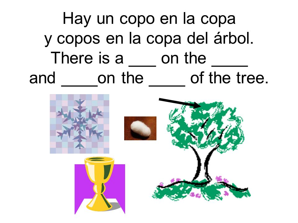 Hay un copo en la copa y copos en la copa del árbol.