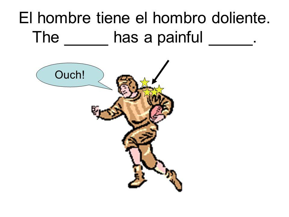 El hombre tiene el hombro doliente. The _____ has a painful _____. Ouch!