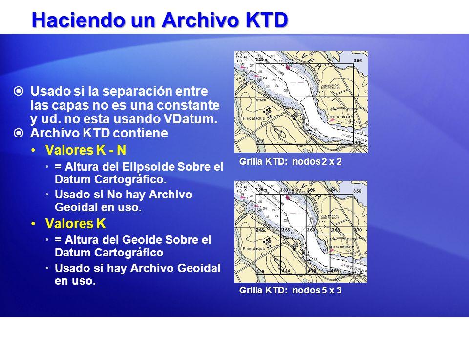 Haciendo un Archivo KTD Usado si la separación entre las capas no es una constante y ud. no esta usando VDatum. Archivo KTD contiene Valores K - N = A