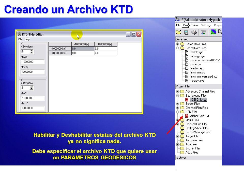 Creando un Archivo KTD Habilitar y Deshabilitar estatus del archivo KTD ya no significa nada. Debe especificar el archivo KTD que quiere usar en PARAM