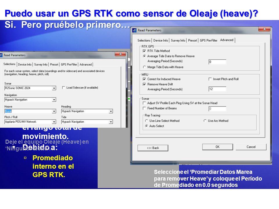 Puedo usar un GPS RTK como sensor de Oleaje (heave)? Si. Pero pruébelo primero…. Pruebas muestran que el GPS RTK no siempre reporta el rango total de