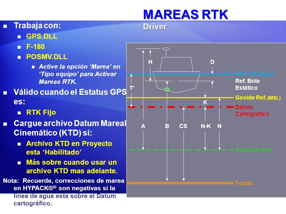 MAREAS RTK Definiciones T: Altura del Nivel del Agua Sobre el Datum Cartográfico T : Corrección de Marea HYPACK = -T A: Altura Elipsoidal H: Altura Antena Positivo hacia abajo.