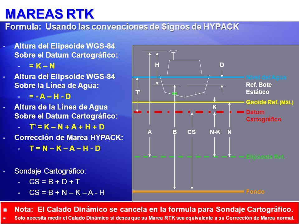 Altura del Elipsoide WGS-84 Sobre el Datum Cartográfico: = K – N = 2 – 15 = -13 Altura del Elipsoide WGS-84 Sobre la Línea de Agua: = - A – H - D = -20 –(-4) - 0.5 = -16.5 Altura de la Línea de Agua Sobre el Datum Cartográfico: T = K – N + A + H + D = -2 -15 + 20 + (-4) +.5 = 3.5 Corrección de Marea HYPACK: T = N – K – A – H – D = 15 – 2 – 20 – (-4) -.5 = -3.5 Sondaje Cartográfico: CS = B + D + T = 22.0 CS = B – K + N – A – H = 25 – 2 + 15 – 20 – (-4) = 22.0.