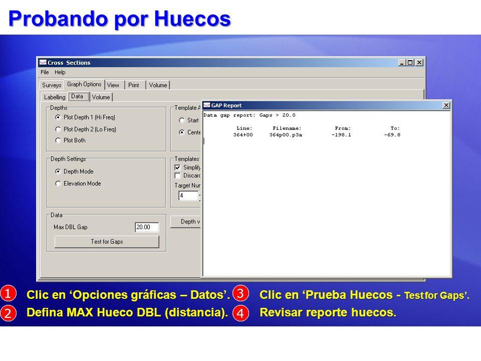 Probando por Huecos Clic en Opciones gráficas – Datos. Clic en Opciones gráficas – Datos. Defina MAX Hueco DBL (distancia). Defina MAX Hueco DBL (dist