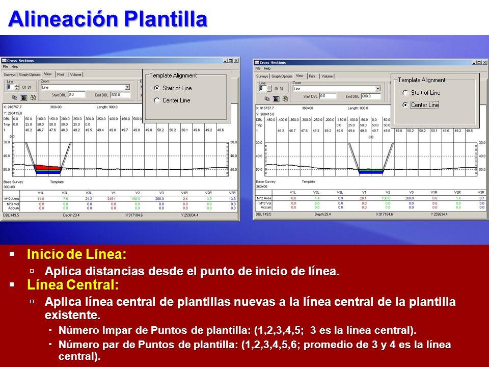 Alineación Plantilla Inicio de Línea: Inicio de Línea: Aplica distancias desde el punto de inicio de línea. Aplica distancias desde el punto de inicio