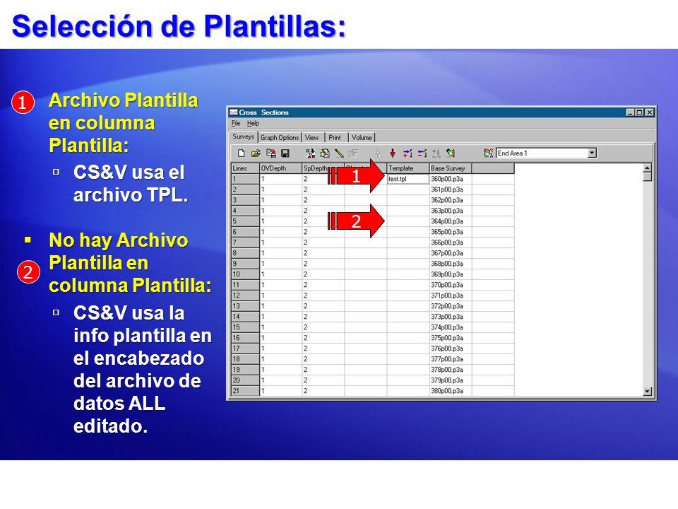 Selección de Plantillas: Archivo Plantilla en columna Plantilla: Archivo Plantilla en columna Plantilla: CS&V usa el archivo TPL. CS&V usa el archivo
