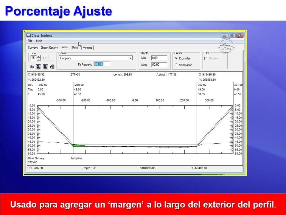 Porcentaje Ajuste Usado para agregar un margen a lo largo del exterior del perfil.