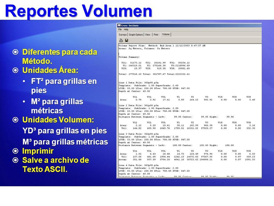 ReportesVolumen Reportes Volumen Diferentes para cada Método. Diferentes para cada Método. Unidades Área: Unidades Área: FT² para grillas en piesFT² p