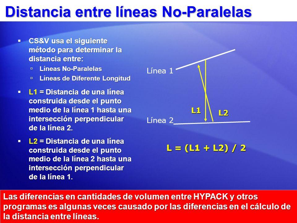 Diferentes Distancias para Segmentos Izquierda, Medio y Derecha CS&V calcula una distancia separada para: CS&V calcula una distancia separada para: L L = talud lateral Izquierda L L = talud lateral Izquierda L C = Centro canal o… L C = Centro canal o… L CL = Izq.