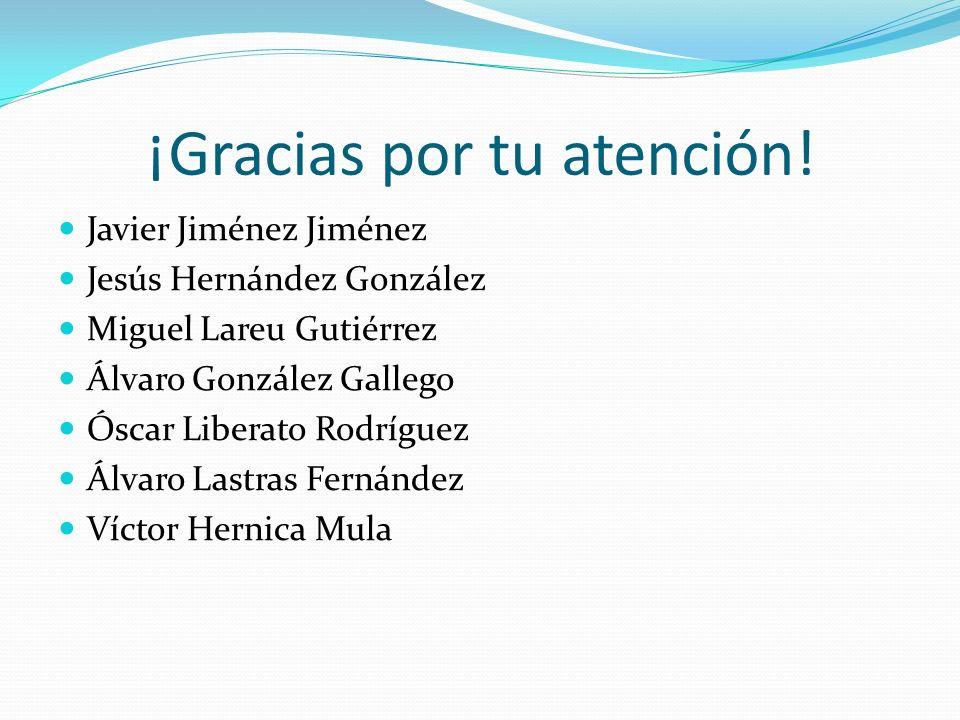 ¡Gracias por tu atención! Javier Jiménez Jiménez Jesús Hernández González Miguel Lareu Gutiérrez Álvaro González Gallego Óscar Liberato Rodríguez Álva
