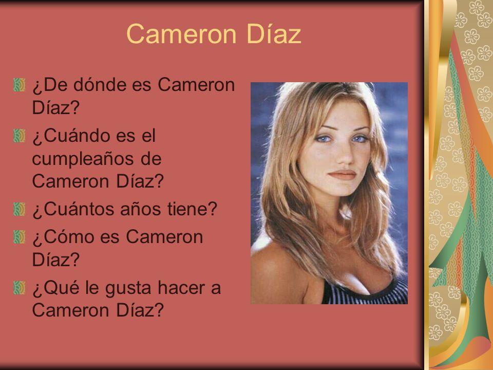 Cameron Díaz ¿De dónde es Cameron Díaz.¿Cuándo es el cumpleaños de Cameron Díaz.
