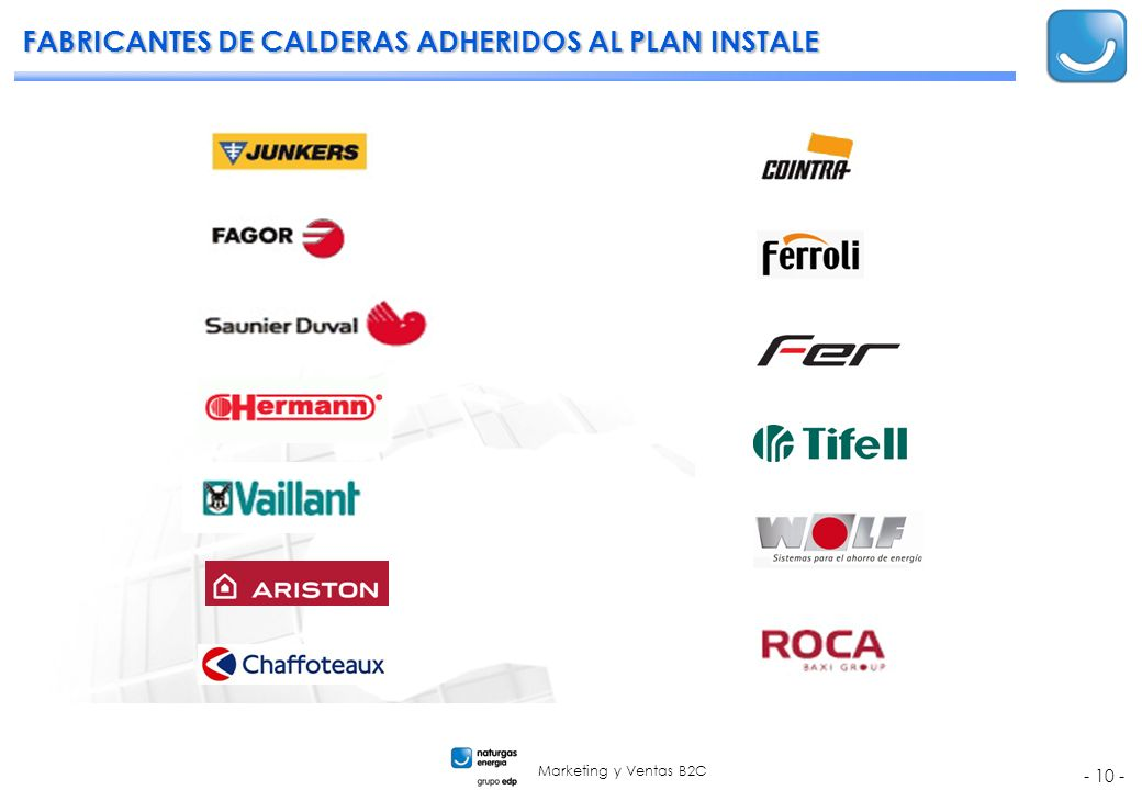 Marketing y Ventas B2C - 10 - FABRICANTES DE CALDERAS ADHERIDOS AL PLAN INSTALE