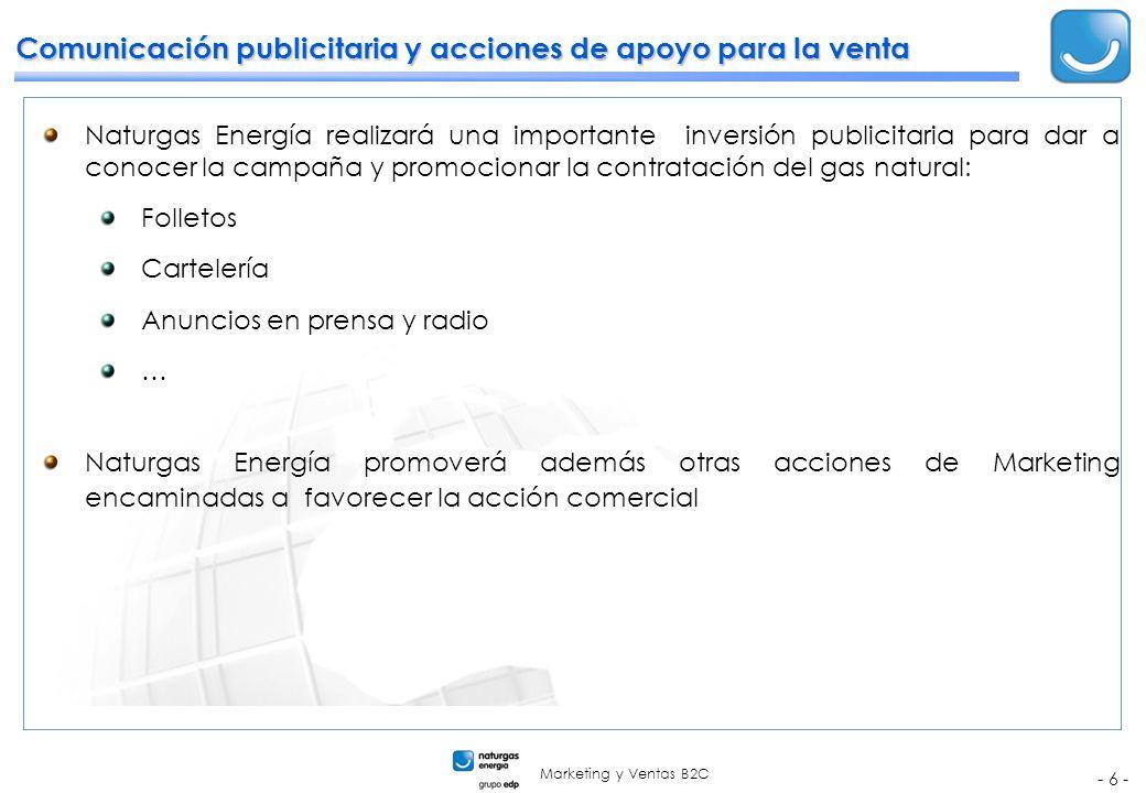 Marketing y Ventas B2C - 6 - Comunicación publicitaria y acciones de apoyo para la venta Naturgas Energía realizará una importante inversión publicita