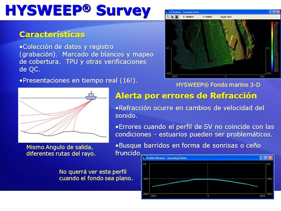 HYSWEEP ® Survey Características Colección de datos y registro (grabación). Marcado de blancos y mapeo de cobertura. TPU y otras verificaciones de QC.