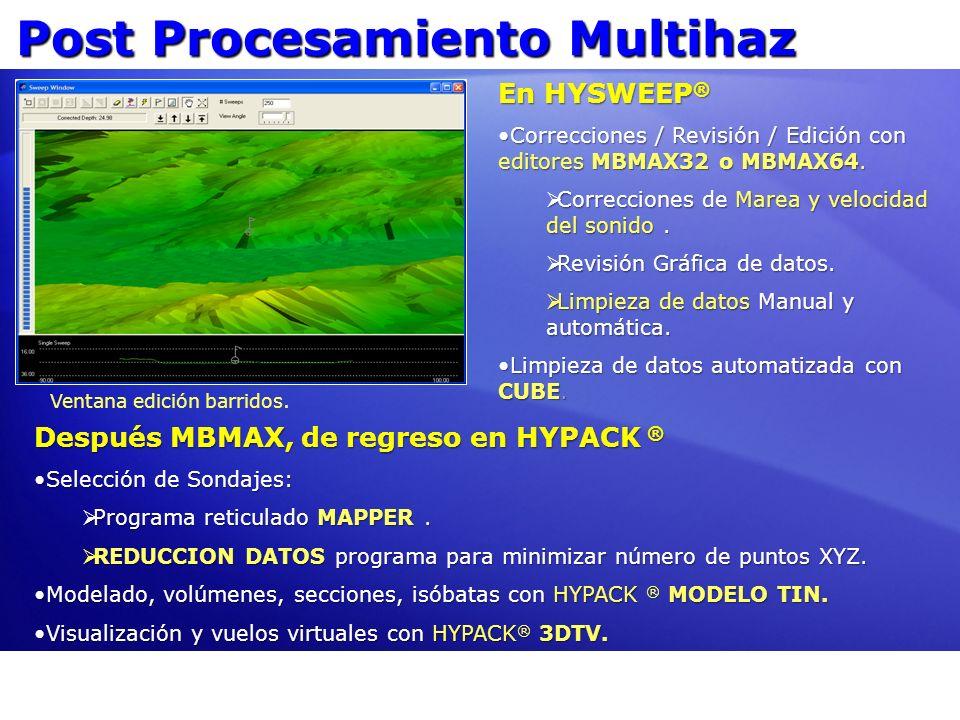Post Procesamiento Multihaz En HYSWEEP ® Correcciones / Revisión / Edición con editores MBMAX32 o MBMAX64.Correcciones / Revisión / Edición con editor