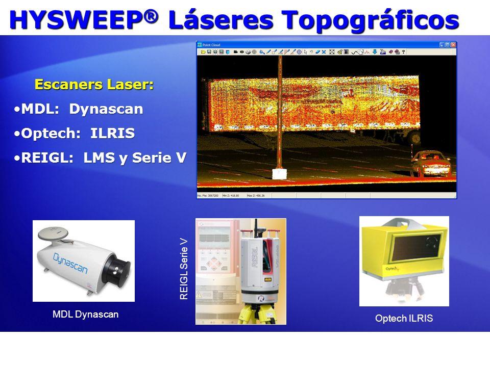 HYSWEEP ® Láseres Topográficos MDL: DynascanMDL: Dynascan Optech: ILRISOptech: ILRIS REIGL: LMS y Serie VREIGL: LMS y Serie V Escaners Laser: REIGL Se