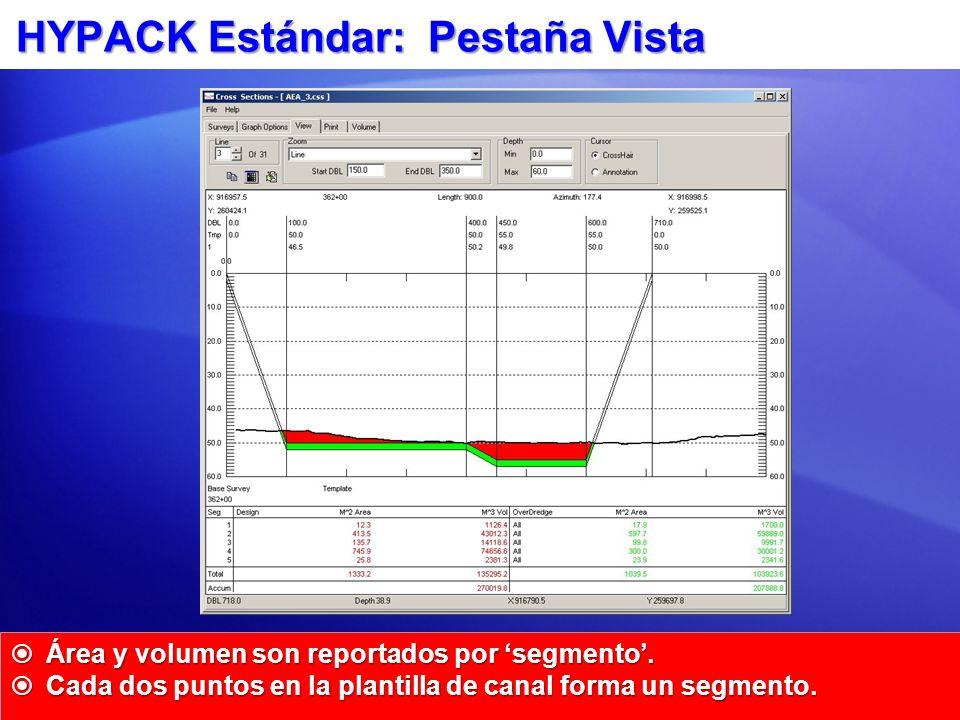 HYPACK Estándar: Pestaña Vista Área y volumen son reportados por segmento. Área y volumen son reportados por segmento. Cada dos puntos en la plantilla