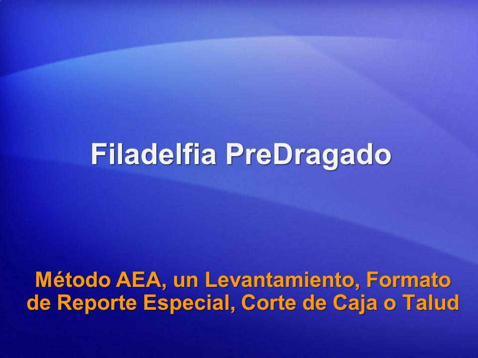 Filadelfia PreDragado Método AEA, un Levantamiento, Formato de Reporte Especial, Corte de Caja o Talud