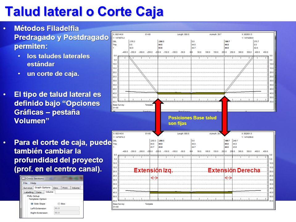 Talud lateral o Corte Caja Métodos Filadelfia Predragado y Postdragado permiten:Métodos Filadelfia Predragado y Postdragado permiten: los taludes late