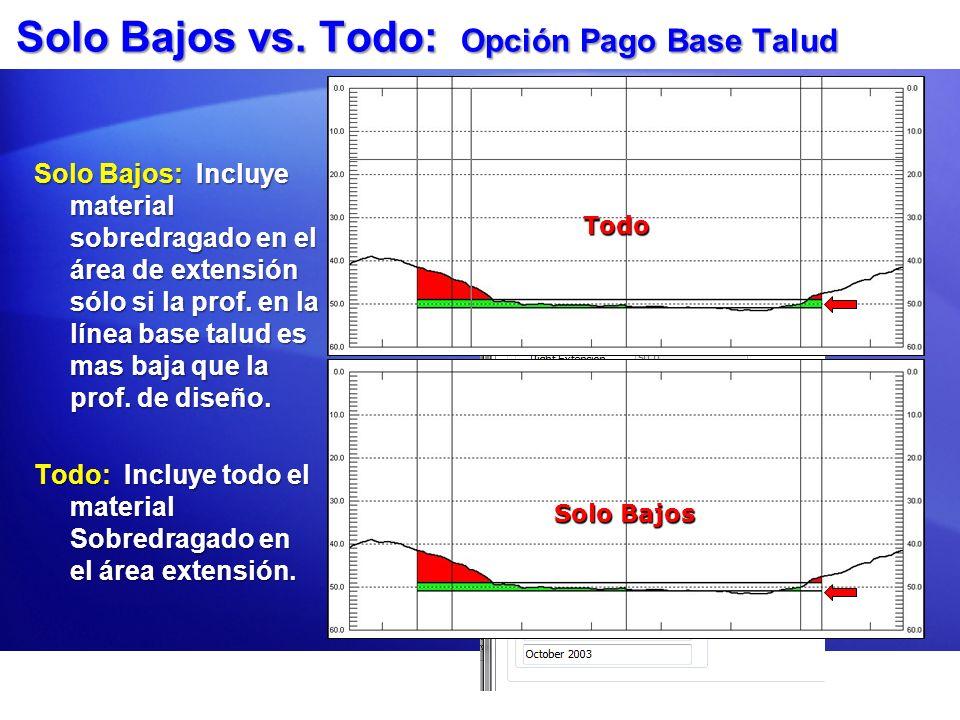 Solo Bajos vs. Todo: Opción Pago Base Talud Solo Bajos: Incluye material sobredragado en el área de extensión sólo si la prof. en la línea base talud