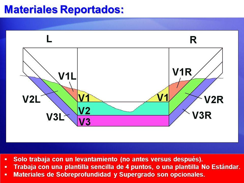 Materiales Reportados: Solo trabaja con un levantamiento (no antes versus después). Solo trabaja con un levantamiento (no antes versus después). Traba