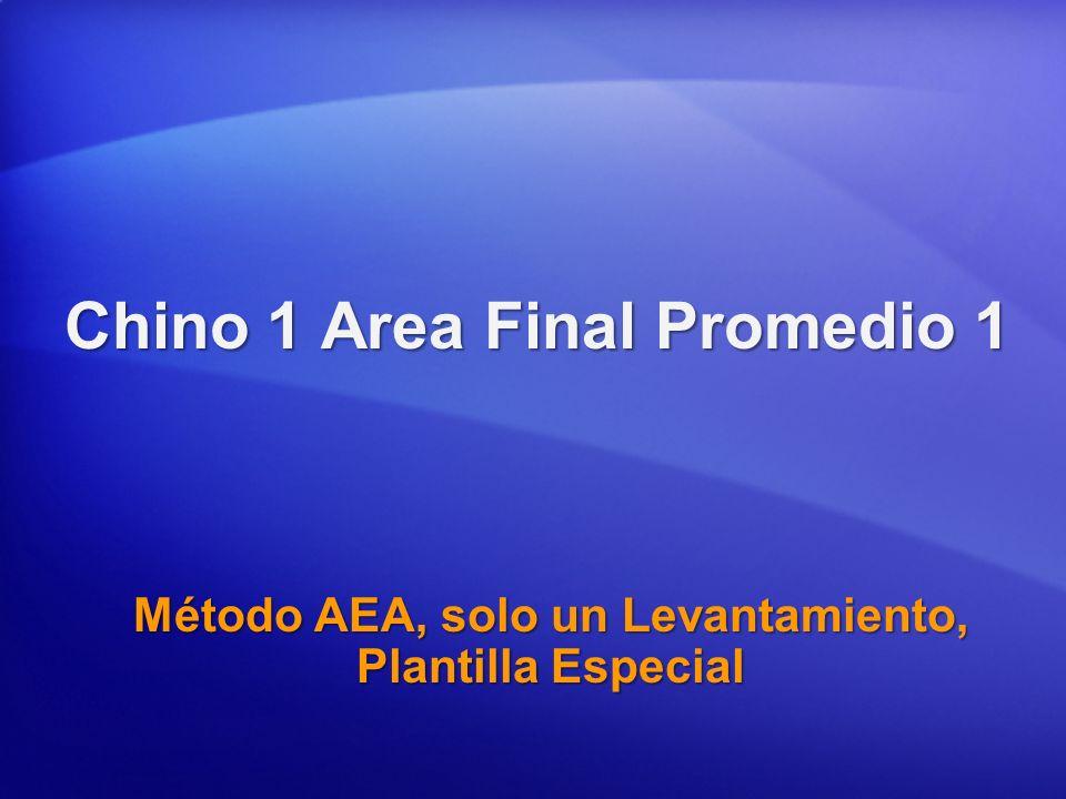Chino 1 Area Final Promedio 1 Método AEA, solo un Levantamiento, Plantilla Especial
