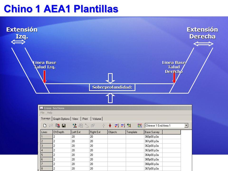 Chino 1 AEA1 Plantillas Extensión Izq. Extensión Derecha Sobreprofundidad: Línea Base Talud Izq. Línea Base Talud Derecho