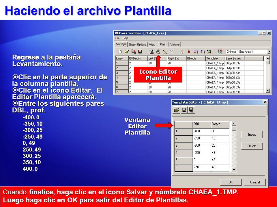 Haciendo el archivo Plantilla Cuando finalice, haga clic en el ícono Salvar y nómbrelo CHAEA_1.TMP. Luego haga clic en OK para salir del Editor de Pla