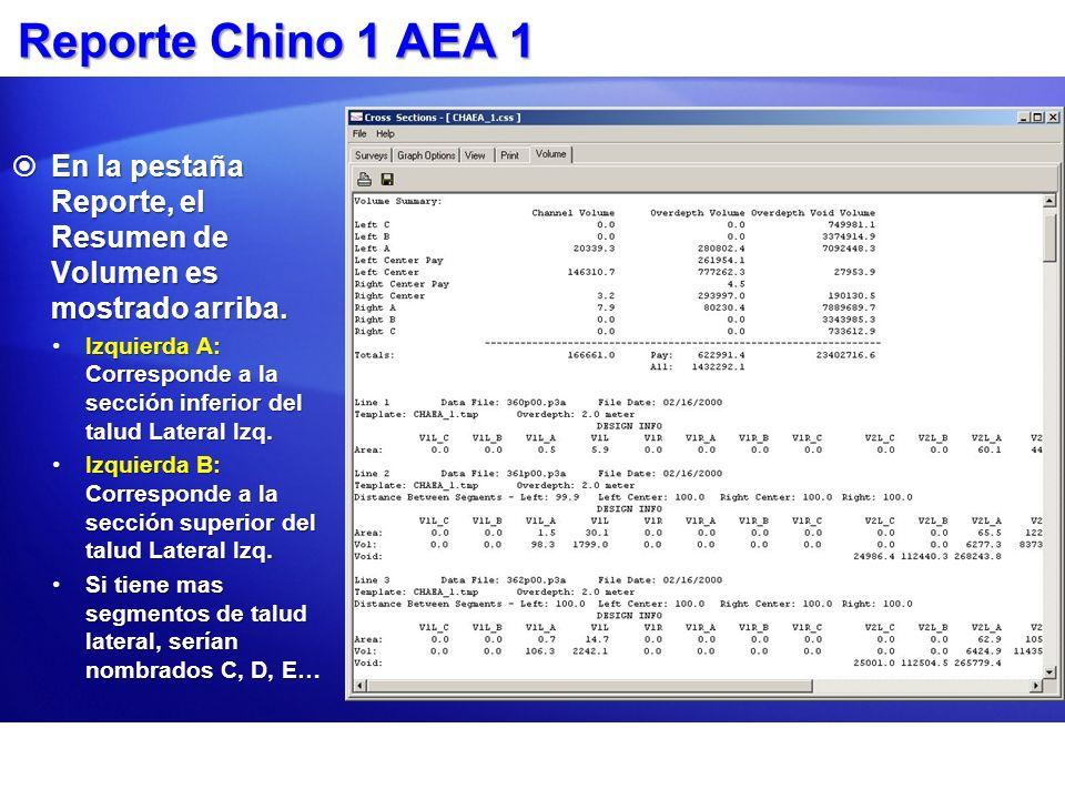Reporte Chino 1 AEA 1 En la pestaña Reporte, el Resumen de Volumen es mostrado arriba. En la pestaña Reporte, el Resumen de Volumen es mostrado arriba