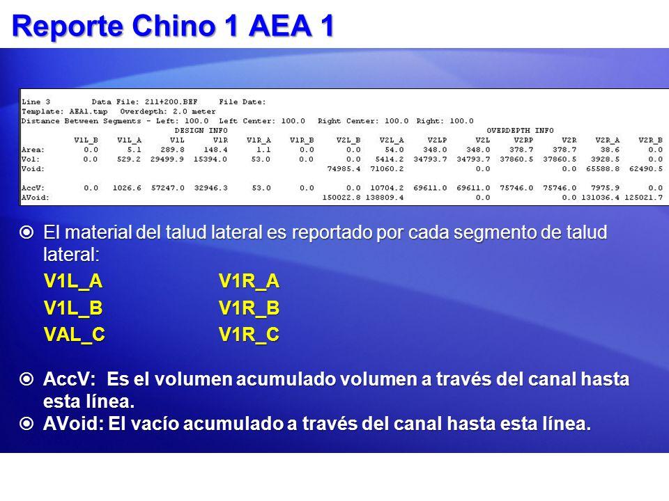 Reporte Chino 1 AEA 1 El material del talud lateral es reportado por cada segmento de talud lateral: El material del talud lateral es reportado por ca