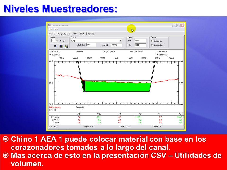 Niveles Muestreadores: Chino 1 AEA 1 puede colocar material con base en los corazonadores tomados a lo largo del canal. Chino 1 AEA 1 puede colocar ma