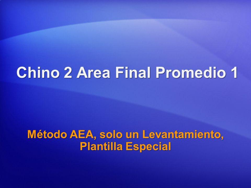 Chino 2 Area Final Promedio 1 Método AEA, solo un Levantamiento, Plantilla Especial
