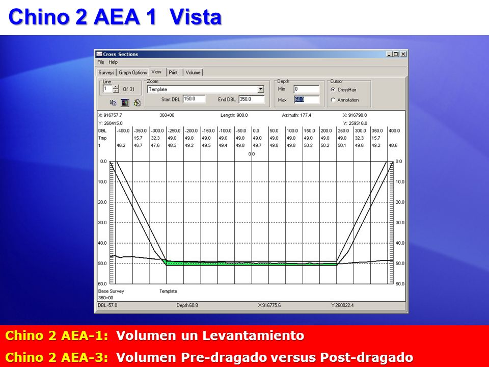Chino 2 AEA 1 Vista Chino 2 AEA-1: Volumen un Levantamiento Chino 2 AEA-3: Volumen Pre-dragado versus Post-dragado
